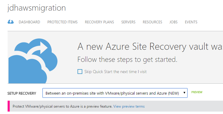 Azure Site Recovery dropdown