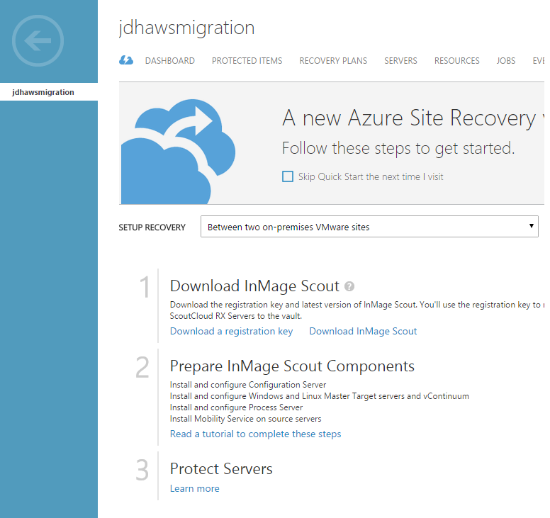 Azure Site recovery start page