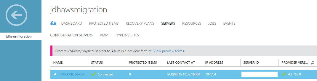 Azure Site Recovery Config Server in vault